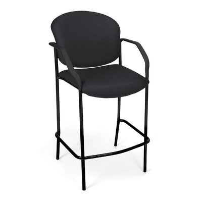 Caf� Height Chair with Arms Fabric Color: Black