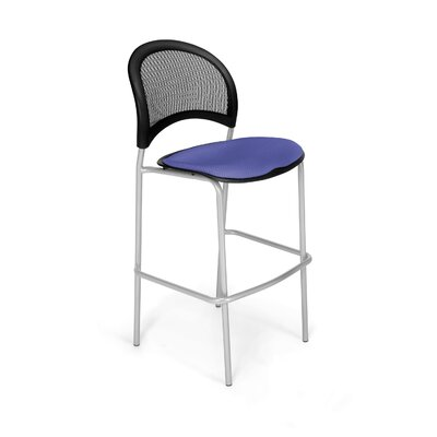 Stars and Moon Cafe Height Chair Base Finish: Chrome, Seat Cover: Royal Blue