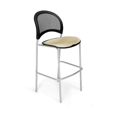 Stars and Moon Cafe Height Chair Base Finish: Silver, Seat Cover: Khaki