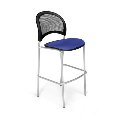 Stars and Moon Cafe Height Chair Base Finish: Silver, Seat Cover: Royal Blue