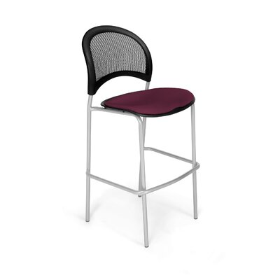 Stars and Moon Cafe Height Chair Base Finish: Silver, Seat Cover: Burgundy