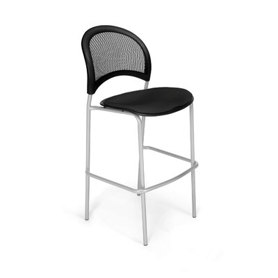 Stars and Moon Cafe Height Chair Base Finish: Silver, Seat Cover: Black