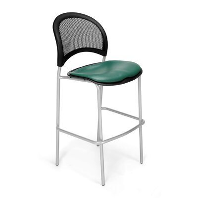Stars and Moon Cafe Height Chair Base Finish: Silver, Seat Cover: Vinyl Teal