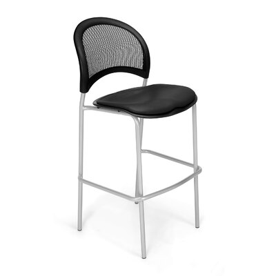 Stars and Moon Cafe Height Chair Base Finish: Silver, Seat Cover: Vinyl Black