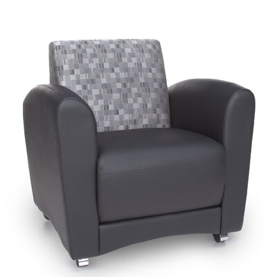 InterPlay Series Upholstered Guest / Reception Chair Color: Geometrix Nickel and Black