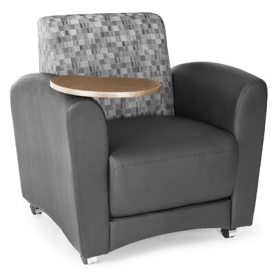 InterPlay Chair with Tablet Color: Geometrix Plum and Taupe, Tablet Finish: Bronze