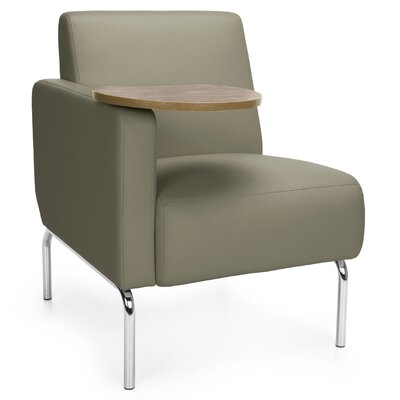 Triumph Series Lounge Chair with Tablet Color: Taupe, Finish: Bronze, Arm Options: Right