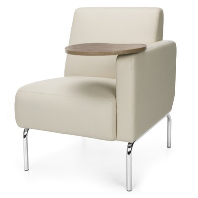 Triumph Series Lounge Chair with Tablet Color: Cream, Finish: Bronze, Arm Options: Left