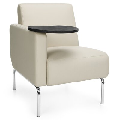 Triumph Series Lounge Chair with Tablet Color: Cream, Finish: Tungsten, Arm Options: Right
