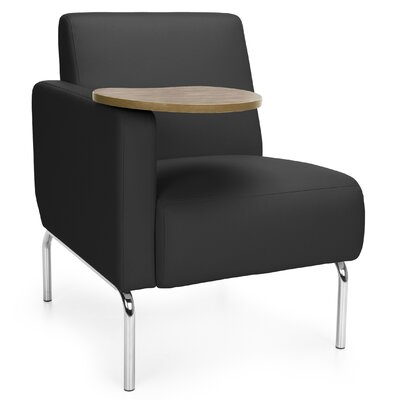 Triumph Series Lounge Chair with Tablet Color: Black, Finish: Bronze, Arm Options: Right