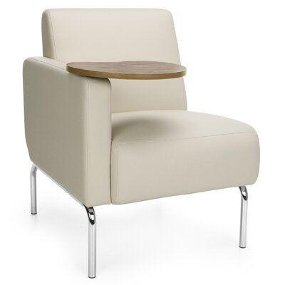 Triumph Series Lounge Chair with Tablet Color: Cream, Finish: Bronze, Arm Options: Right