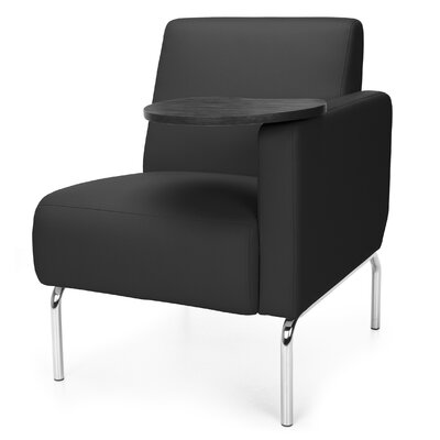 Triumph Series Lounge Chair with Tablet Color: Black, Finish: Tungsten, Arm Options: Left