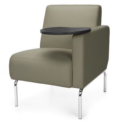 Triumph Series Lounge Chair with Tablet Color: Taupe, Finish: Tungsten, Arm Options: Left