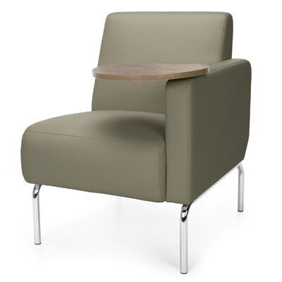 Triumph Series Lounge Chair with Tablet Color: Taupe, Finish: Bronze, Arm Options: Left