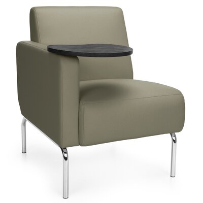 Triumph Series Lounge Chair with Tablet Color: Taupe, Finish: Tungsten, Arm Options: Right