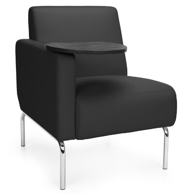 Triumph Series Lounge Chair with Tablet Color: Black, Finish: Tungsten, Arm Options: Right