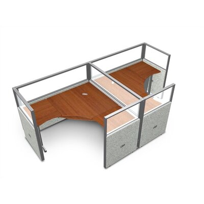 Workstation Panel System 1x2 Configuration Top Finish: Cherry, Panel Color: Gray Polycarbonate, Size: 47 H x 78.5 W