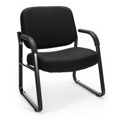 Big and Tall Upholstered Guest / Reception Chair with Arms Seat Color: Black