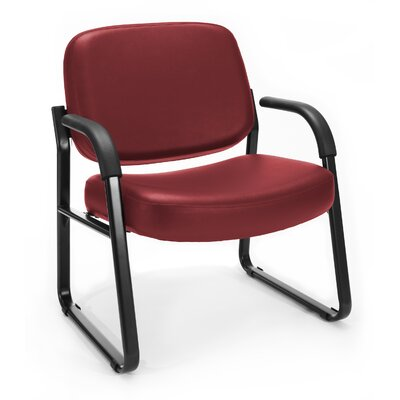 Big and Tall Vinyl Guest / Reception Chair with Arms Seat Color: Wine