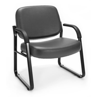 Big and Tall Vinyl Guest / Reception Chair with Arms Seat Color: Charcoal