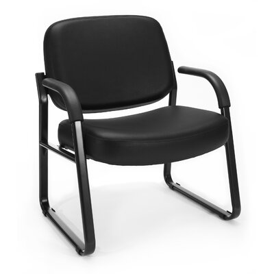 Big and Tall Vinyl Guest / Reception Chair with Arms Seat Color: Black