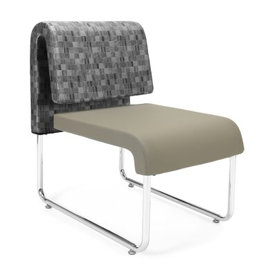 UNO Chair (Set of 2) Fabric: Fabric Back/PVC Free Polyurethane Seat, Color: Nickel Back - Taupe Seat