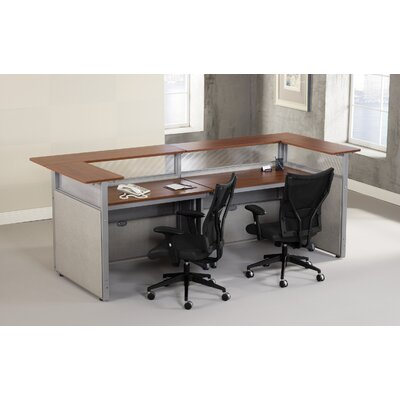 "OFM RiZe Panel System L-Shaped Reception Station with Tops - Size: 48"" x 37"", Panel Color: Gray, Top Finish: Maple at Sears.com"