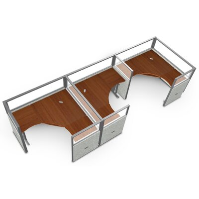 Workstation Panel System 1x3 Configuration Top Finish: Cherry, Panel Color: Gray Polycarbonate, Size: 47 H x 78.5 W