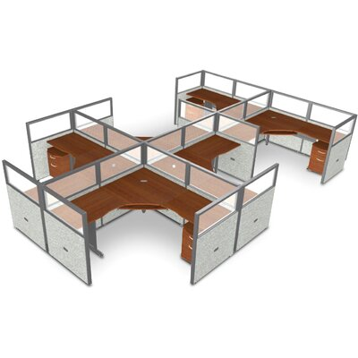 Workstation Panel System 2x3 Configuration Top Finish: Cherry, Panel Color: Gray Vinyl, Size: 47 H x 72 - 154.5 W