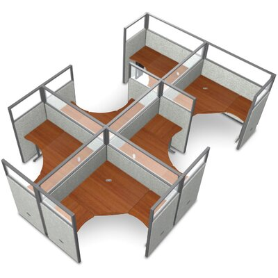 Workstation Panel System 2x3 Configuration Top Finish: Cherry, Panel Color: Beige Polycarbonate, Size: 63 H x 60 - 126.5 W
