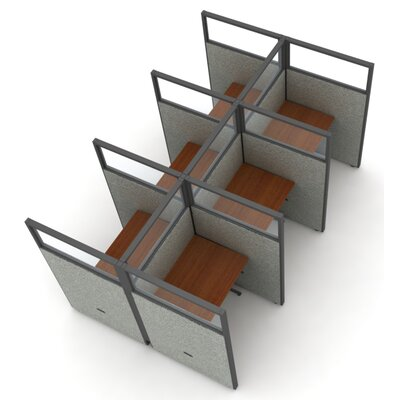 Privacy Station Panel System 2x3 Configuration Panel Color: Gray Polycarbonate, Top Finish: Cherry, Size: 63 H x 36 - 199.5 W