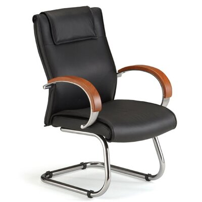 Leather Chair with Sled Base Finish: Cherry