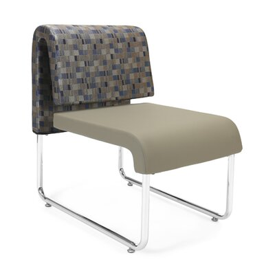 UNO Chair (Set of 2) Fabric: Fabric Back/PVC Free Polyurethane Seat, Color: Blue Back - Taupe Seat