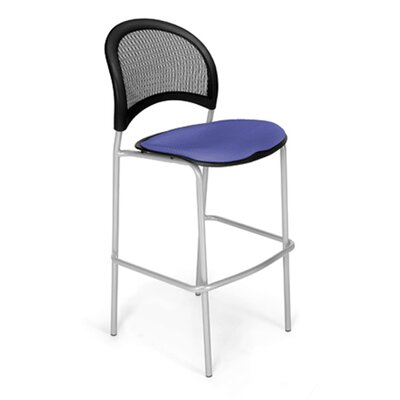 Stars and Moon Cafe Height Chair Base Finish: Silver, Seat Cover: Colonial Blue