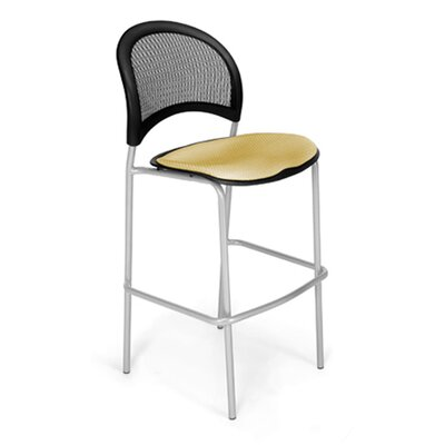 Stars and Moon Cafe Height Chair Base Finish: Silver, Seat Cover: Golden Flax