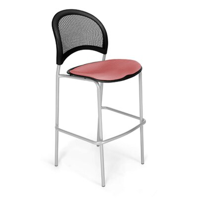 Stars and Moon Cafe Height Chair Base Finish: Silver, Seat Cover: Coral Pink