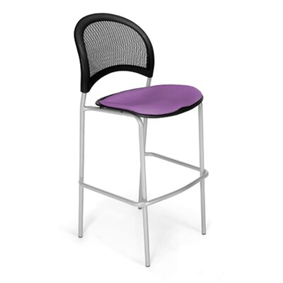 Stars and Moon Cafe Height Chair Base Finish: Silver, Seat Cover: Plum