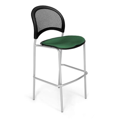 Stars and Moon Cafe Height Chair Base Finish: Silver, Seat Cover: Forest Green