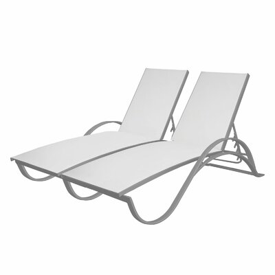 Marisa Double Chaise Lounge Finish: Kessler Silver, Fabric: Royal Blue