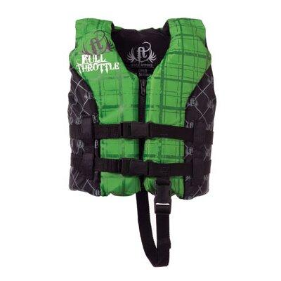 Image of Full Throttle Child Hinged Ski Vest Size: Child, Color: Green/Black (4801-0068)
