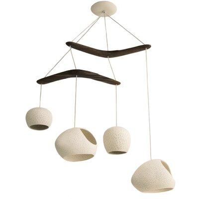 Claylight Boomerang 4-Light Shaded Chandelier