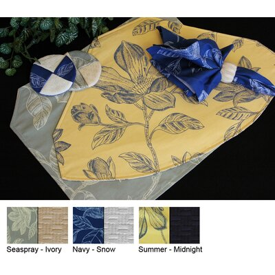 Bouquet Reversible Square Table Topper Color-seaspray / Ivory  Size-48 X 48