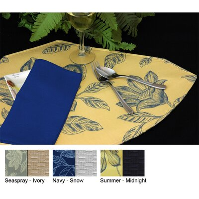 Bouquet Reversible Wedge Placemat (set Of 4) Color-seaspray / Ivory