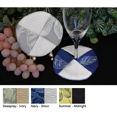 Bouquet Wine Glass Coaster (set Of 4) Color-navy / White