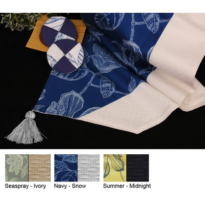 Bouquet Reversible Table Runner Color-seaspray / Ivory  Size-15 X 96