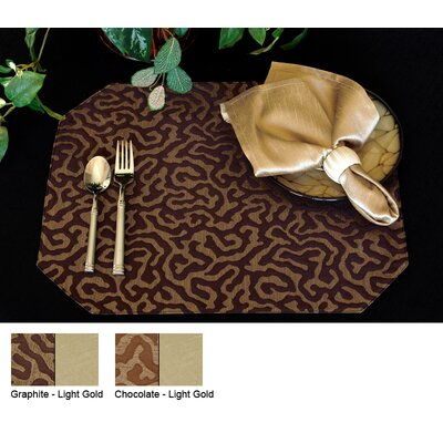 Illusions Reversible Wedge Placemat (set Of 4) Color-chocoloate / Light Gold