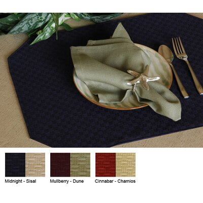 Wicker Reversible Rectangle Placemat (set Of 4) Color-cinnabar / Chamois