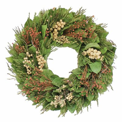 Natural Leaves Wreath Size: 18 H x 18 W x 4 D