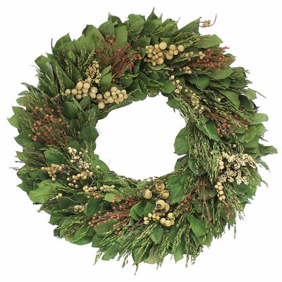Natural Leaves Wreath Size: 22 H x 22 W x 4 D