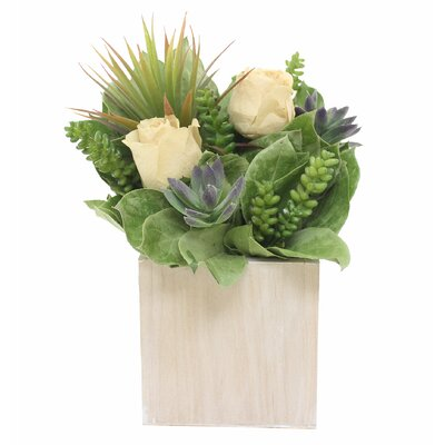 Succulents Roses Centerpiece in Planter